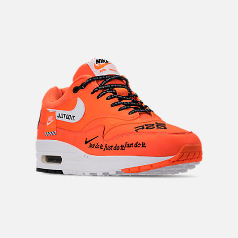 Three Quarter view of Women's Nike Air Max 1 Lux Casual Shoes in Total Orange/White/Black