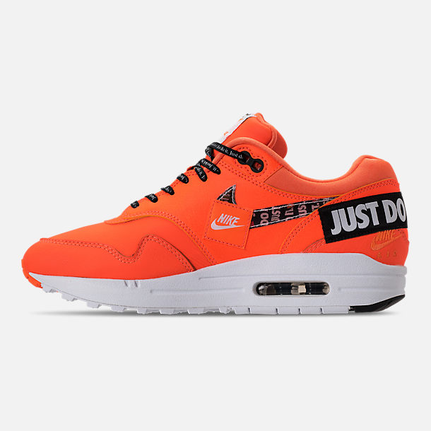 Left view of Women's Nike Air Max 1 Lux Casual Shoes in Total Orange/White/Black