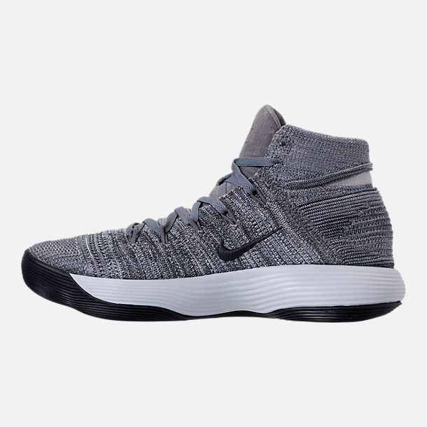 ... left view of mens nike react hyperdunk 2017 flyknit basketball shoes in  cool grey anthracite
