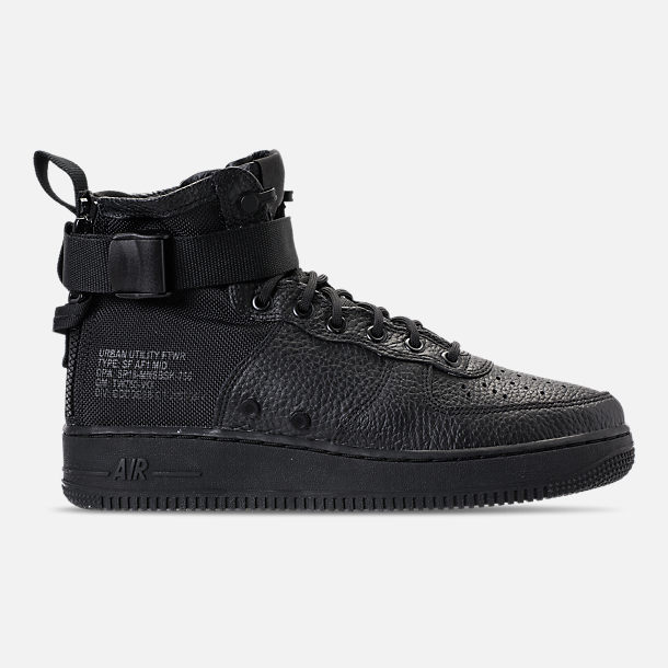 Right view of Men's Nike SF-AF1 Mid Casual Shoes in Triple Black