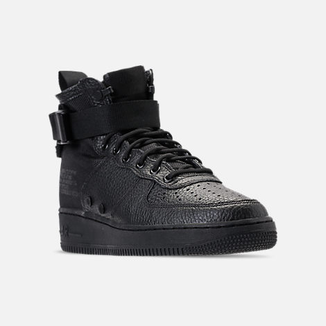 Three Quarter view of Men's Nike SF-AF1 Mid Casual Shoes in Triple Black