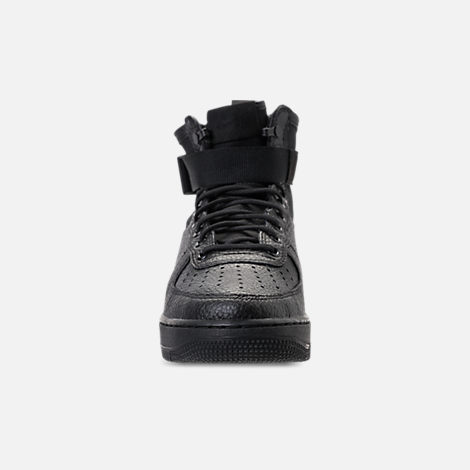 Front view of Men's Nike SF-AF1 Mid Casual Shoes in Triple Black