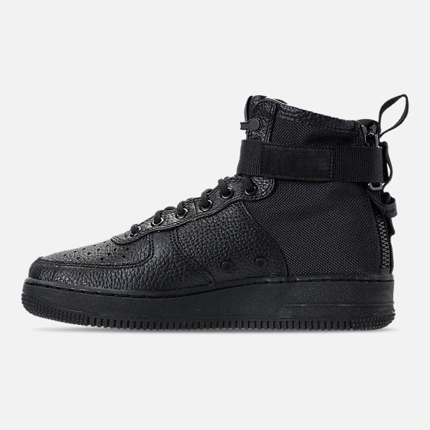 Left view of Men's Nike SF-AF1 Mid Casual Shoes in Triple Black