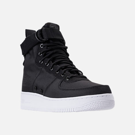 Three Quarter view of Men's Nike SF-AF1 Mid Casual Shoes in Black/Anthracite/White