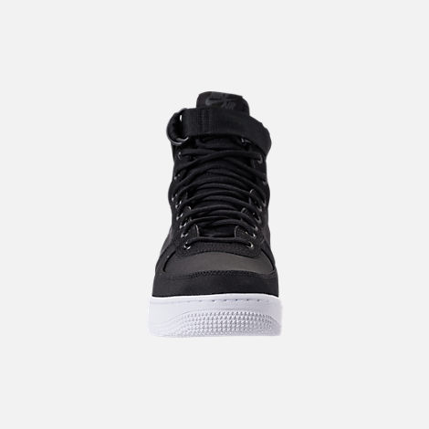 Front view of Men's Nike SF-AF1 Mid Casual Shoes in Black/Anthracite/White