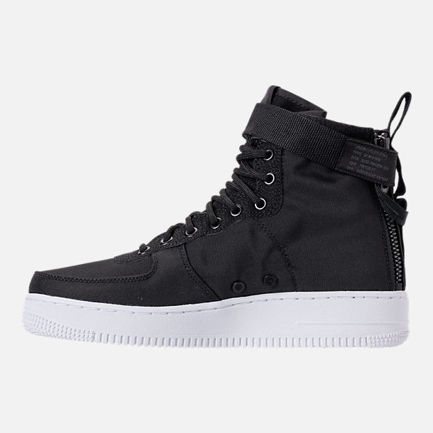 Left view of Men's Nike SF-AF1 Mid Casual Shoes in Black/Anthracite/White