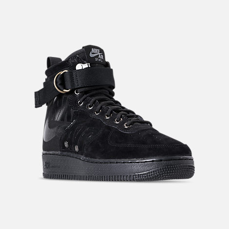 Three Quarter view of Men's Nike SF-AF1 Mid Casual Shoes in Black/Cool Grey