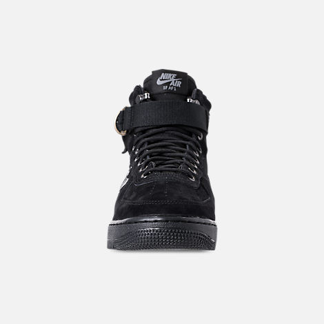 Front view of Men's Nike SF-AF1 Mid Casual Shoes in Black/Cool Grey