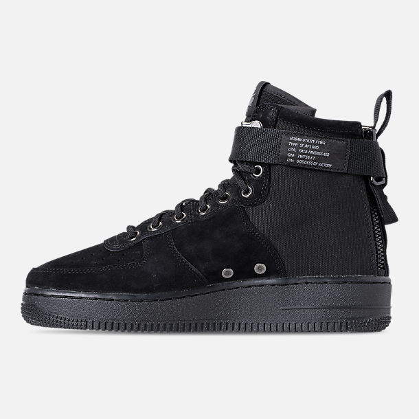 Left view of Men's Nike SF-AF1 Mid Casual Shoes in Black/Cool Grey