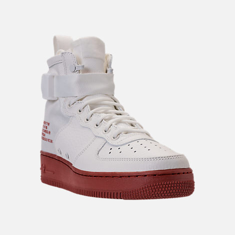 Three Quarter view of Men's Nike SF-AF1 Mid Casual Shoes in Ivory/Mars Stone