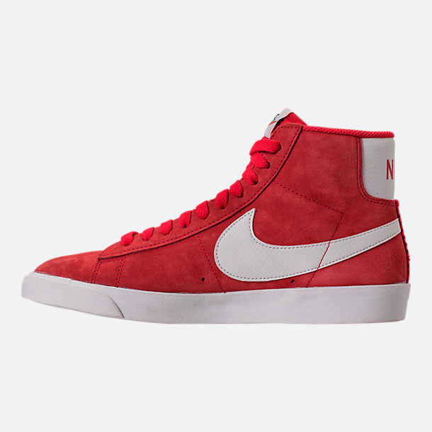 Left view of Women's Nike Blazer Mid Vintage Suede Casual Shoes in Speed Red/Sail/Black