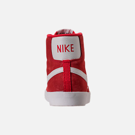 Back view of Women's Nike Blazer Mid Vintage Suede Casual Shoes in Speed Red/Sail/Black