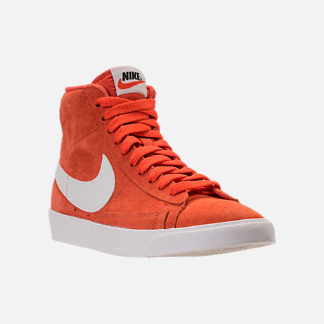 Three Quarter view of Women's Nike Blazer Mid Vintage Suede Casual Shoes in Vintage Coral/Sail/Sail