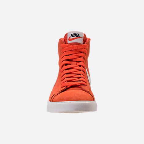 Front view of Women's Nike Blazer Mid Vintage Suede Casual Shoes in Vintage Coral/Sail/Sail