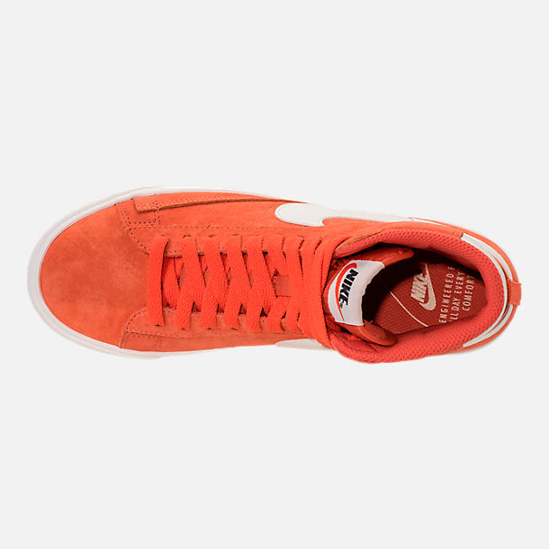 Top view of Women's Nike Blazer Mid Vintage Suede Casual Shoes in Vintage Coral/Sail/Sail