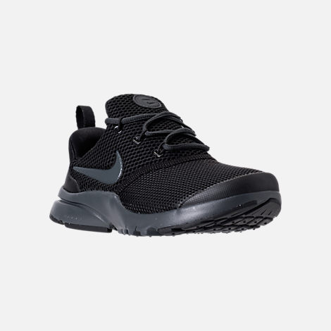 Three Quarter view of Boys' Preschool Nike Presto Fly Casual Shoes in Black/Anthracite