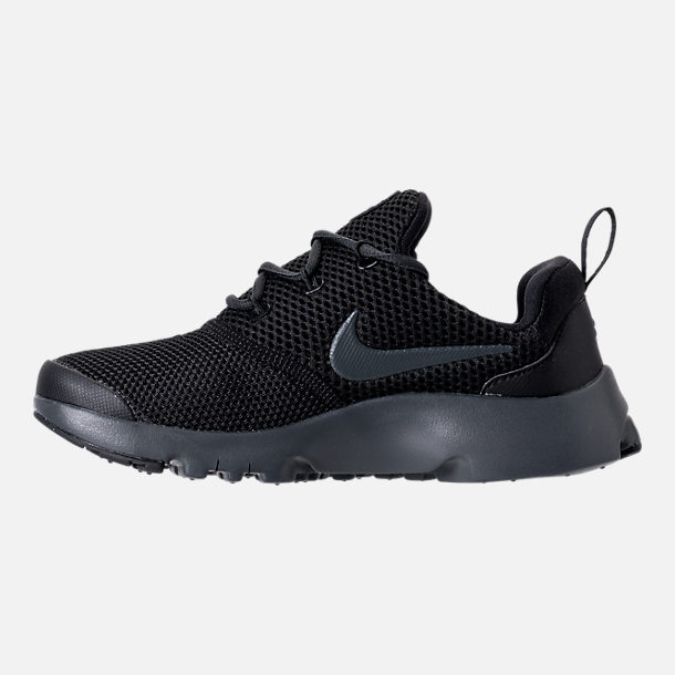 Left view of Boys' Preschool Nike Presto Fly Casual Shoes in Black/Anthracite