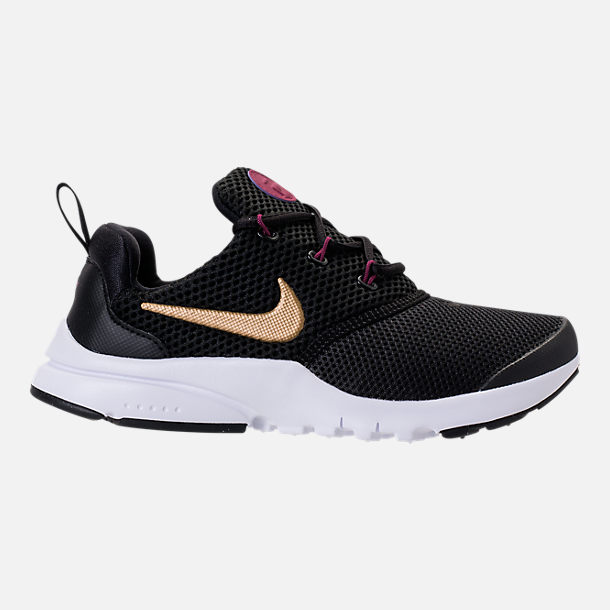 Right view of Girls' Preschool Nike Presto Fly Casual Shoes in  Black/Metallic Gold