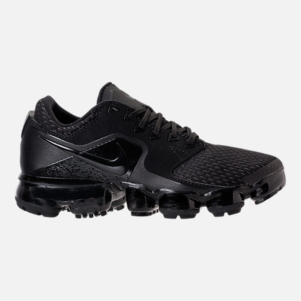 Right view of Boys' Grade School Nike Air VaporMax Running Shoes in Black/Dark Grey/Total Crimson