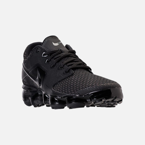 Three Quarter view of Boys' Grade School Nike Air VaporMax Running Shoes in Black/Dark Grey/Total Crimson