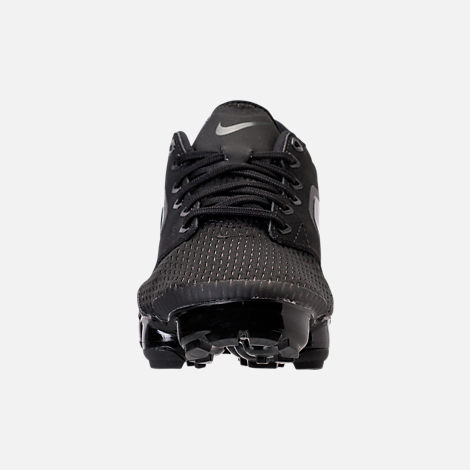 Front view of Boys' Grade School Nike Air VaporMax Running Shoes in Black/Dark Grey/Total Crimson