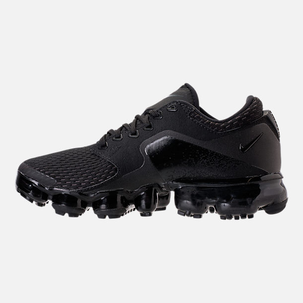 Left view of Boys' Grade School Nike Air VaporMax Running Shoes in Black/Dark Grey/Total Crimson