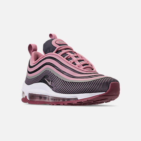 Three Quarter view of Girls' Big Kids' Nike Air Max 97 Ultra '17 Casual Shoes in Elemental Rose/Elemental Pink/Gridiron