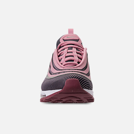 Front view of Girls' Big Kids' Nike Air Max 97 Ultra '17 Casual Shoes in Elemental Rose/Elemental Pink/Gridiron