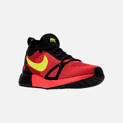 Three Quarter view of Men's Nike Duel Racer Casual Shoes in Bright Crimson/Volt/Action Red