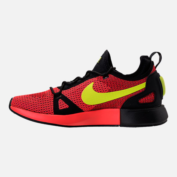 Left view of Men's Nike Duel Racer Casual Shoes in Bright Crimson/Volt/Action Red