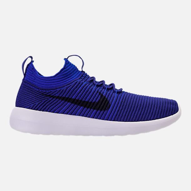 Right view of Men's Nike Roshe Two Flyknit V2 Casual Shoes in Deep Royal/Obsidian/Racer Blue