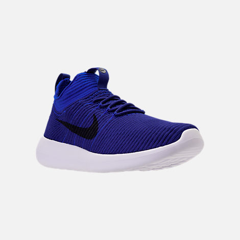 Three Quarter view of Men's Nike Roshe Two Flyknit V2 Casual Shoes in Deep Royal/Obsidian/Racer Blue