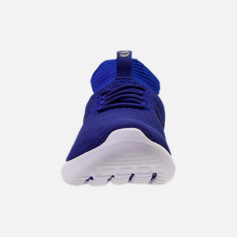 Front view of Men's Nike Roshe Two Flyknit V2 Casual Shoes in Deep Royal/Obsidian/Racer Blue