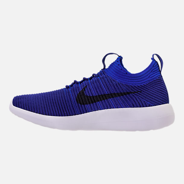 Left view of Men's Nike Roshe Two Flyknit V2 Casual Shoes in Deep Royal/Obsidian/Racer Blue