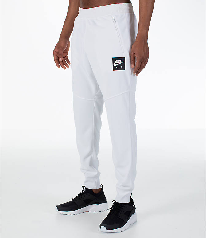 Front Three Quarter view of Men's Nike Sportswear Air Track Jogger Pants in White/White