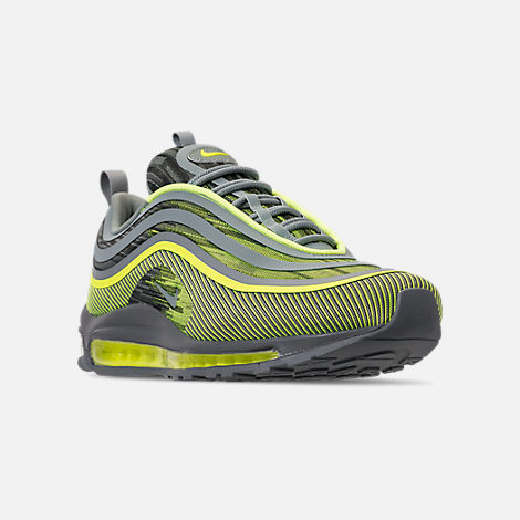 Three Quarter view of Men's Nike Air Max 97 Ultra 2017 Casual Shoes in Volt/Mica Green/Cool Grey