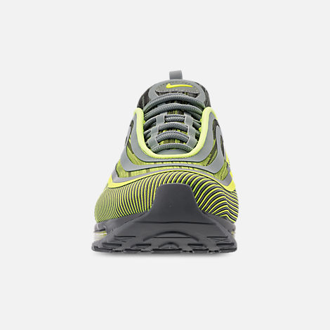Front view of Men's Nike Air Max 97 Ultra 2017 Casual Shoes in Volt/Mica Green/Cool Grey