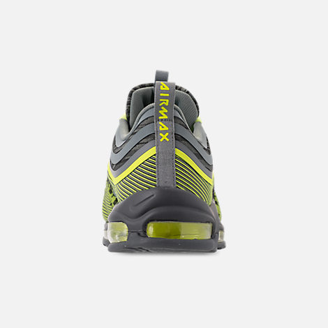 Back view of Men's Nike Air Max 97 Ultra 2017 Casual Shoes in Volt/Mica Green/Cool Grey