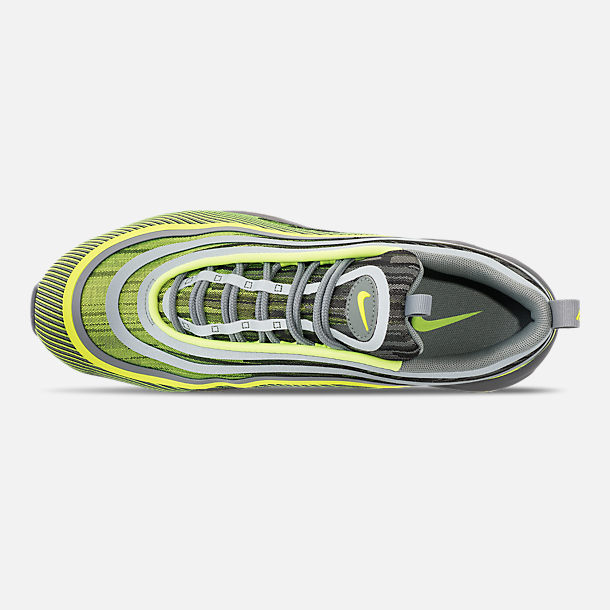 Top view of Men's Nike Air Max 97 Ultra 2017 Casual Shoes in Volt/Mica Green/Cool Grey