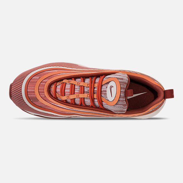 Top view of Men's Nike Air Max 97 Ultra 2017 Running Shoes in Vintage Coral/Sail/Mars Stone