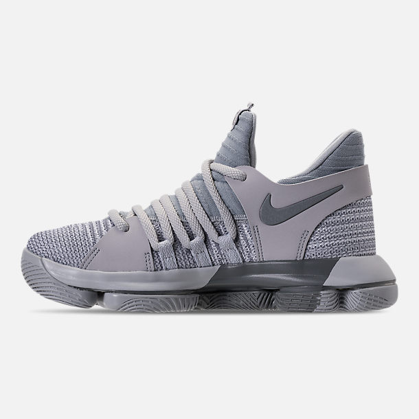 Left view of Boys' Grade School Nike Zoom KDX Basketball Shoes in Wolf Grey/Cool Grey