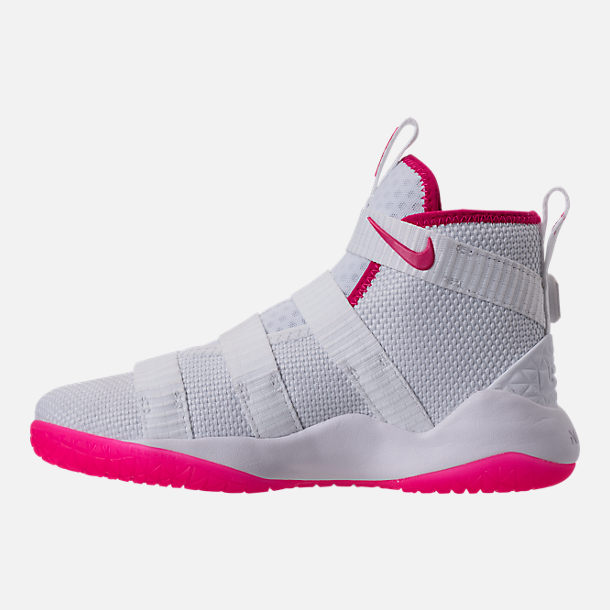 943420f57e8bb Left view of Boys  Preschool Nike LeBron Soldier 11 Basketball Shoes in  White Vivid