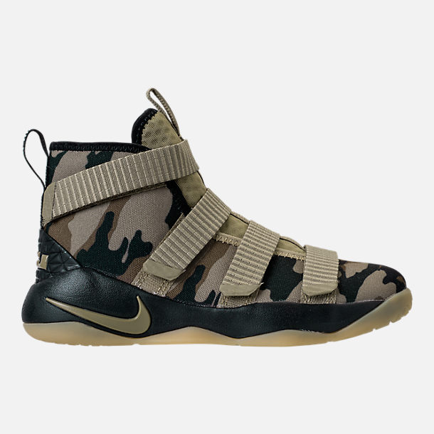 Right view of Boys' Preschool Nike LeBron Soldier 11 Basketball Shoes in Neutral Olive/Sequoia/Hazel Rush