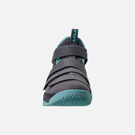 Front view of Boys' Grade School Nike LeBron Soldier 11 Basketball Shoes in Dark Grey/Light Aqua/Black/Gum Brown
