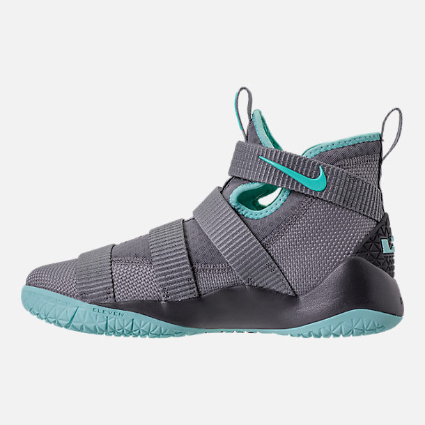 Left view of Boys' Grade School Nike LeBron Soldier 11 Basketball Shoes in Dark Grey/Light Aqua/Black/Gum Brown