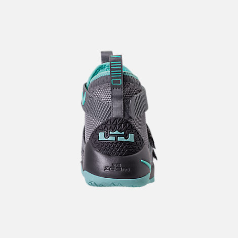 Back view of Boys' Grade School Nike LeBron Soldier 11 Basketball Shoes in Dark Grey/Light Aqua/Black/Gum Brown