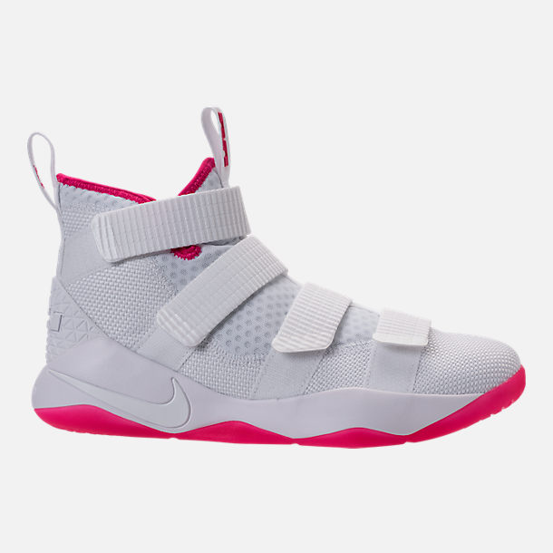 62514773420 ... right view of boys grade school nike lebron soldier 11 basketball shoes  in white