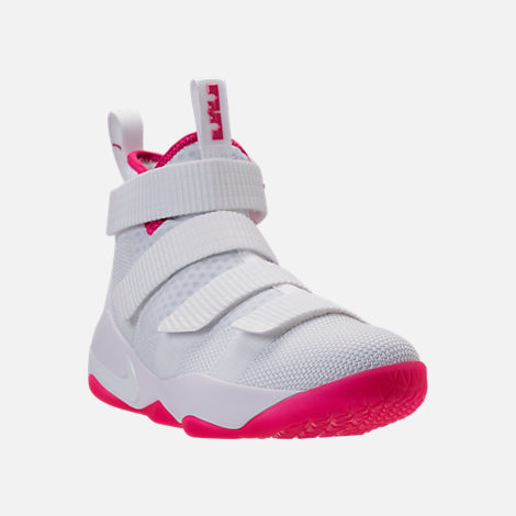Three Quarter view of Boys' Grade School Nike LeBron Soldier 11 Basketball Shoes in White/Vivid Pink