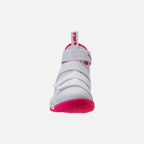 Front view of Boys' Grade School Nike LeBron Soldier 11 Basketball Shoes in White/Vivid Pink
