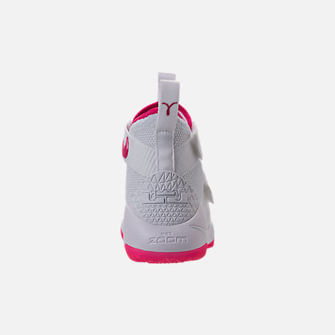 Back view of Boys' Grade School Nike LeBron Soldier 11 Basketball Shoes in White/Vivid Pink